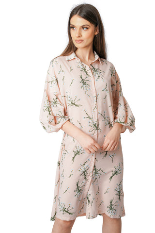 Floral Puff Sleeve Button Up Shirt Midi Dress