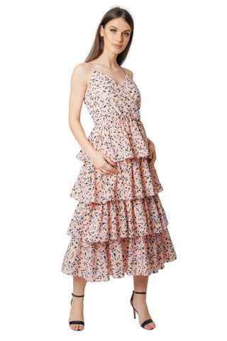 Floral Ruffle Wrap Front Summer Midi Dress