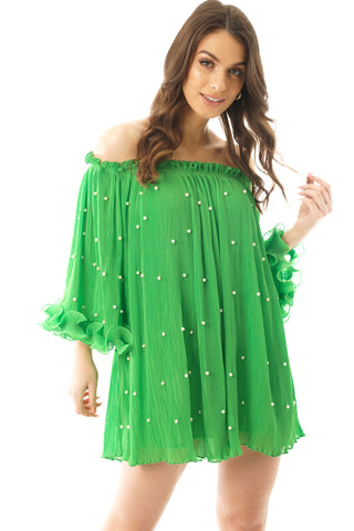 Plisse Pearl Bardot Floaty Frill Swing Mini Dress Top in green
