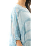 Pastel Stripe Sequin Detail Watercolour Floaty Silky Top