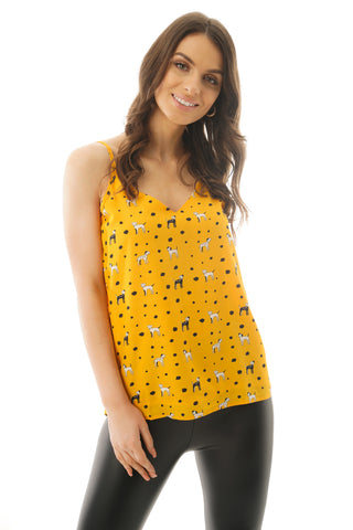 Dog and Polka Dot Print Vneck Strappy Cami Vest Top in mustard