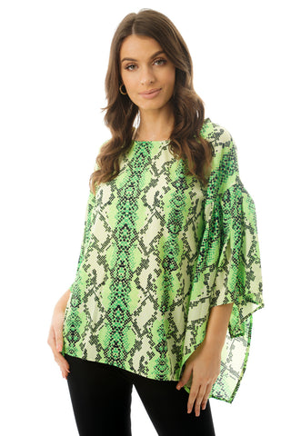 Green Snakeskin Printed Chiffon Floaty Sleeve Top in neon green