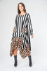 Stripe and Leopard Print Border Floaty Asymmetric Dress