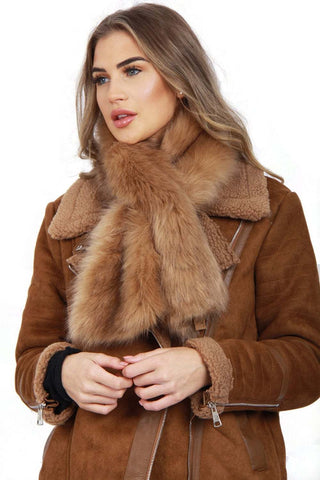 Faux Fur Collar Stole Pull Through Scarf
