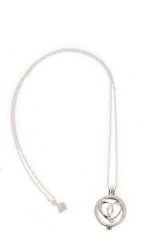 Diamante Love Heart Charm Pendant Long Necklace in silver