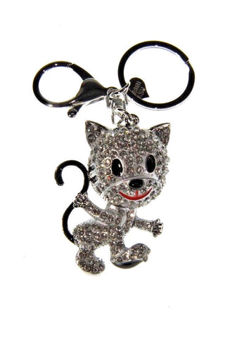 Cat Kitten Diamante Bag Charm Keyring