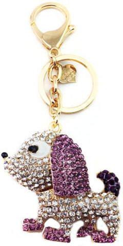 Dog Diamante Bag Charm Keyring