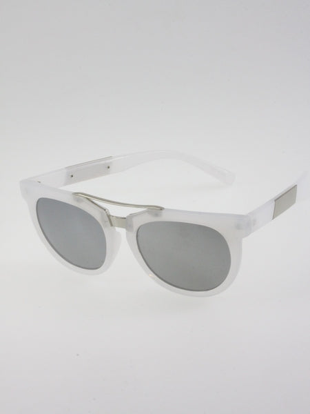 White Frosted Aviator Sunglasses Vintage style frame