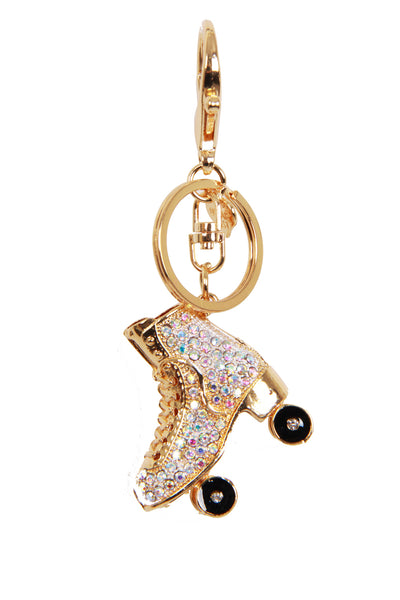 Boot Roller Skates Diamante Bag Charm Keyring