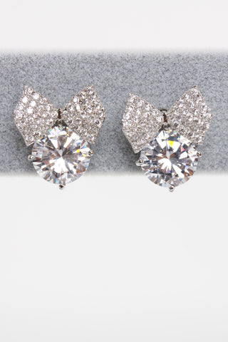 Diamante Gems Bow Pearl Earring Studs