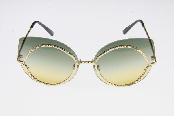 Cat Eye Sunglasses with twisted metal frame