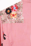 Red And White Stripe Embroidered Shirt with Self Tie Belt