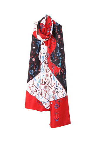 Keys Print Reversible Silky Self Tie Neck & Head Scarf