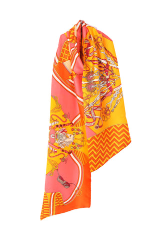 Horse & Geometric Print Reversible Silky Self Tie Neck & Head Scarf