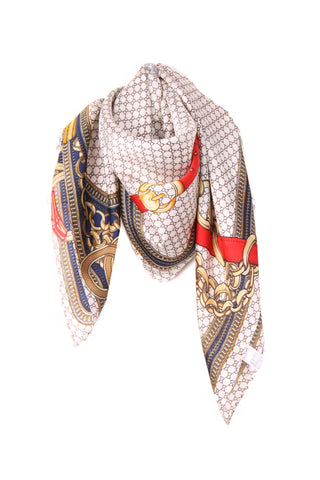 Silky Chain And Tassel Print Bandana Square Scarf