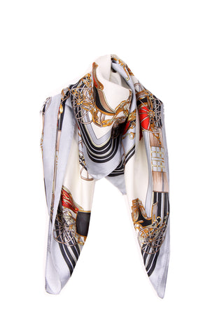 Silky Carriange Print Bandana Square Scarf