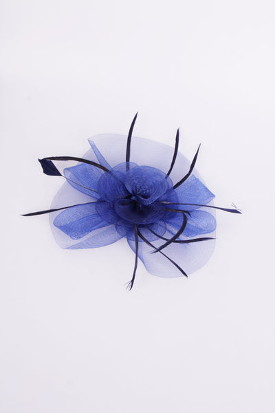 Royal Blue Flower Feather Mesh Fascinator
