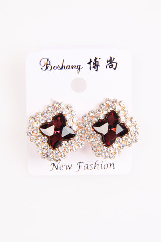 MAROON STONE WITH DIAMANTE EARINGS