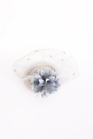 GREY FLORAL FEATHER AND MESH FASCINATOR FOR WEDDINGS