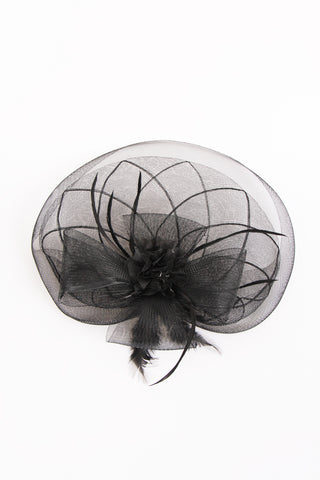 Black Mesh net fascinator with flower wedding
