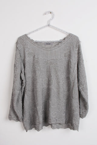 Round Neck Floral Embroidered Top in grey