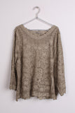 Round Neck Floral Embroidered Top in brown