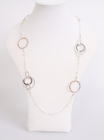 Round Circle Rose gold lagen look necklace