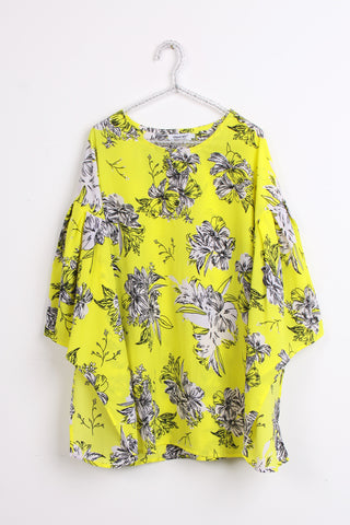 Neon Green Floral print new women top bell sleeve