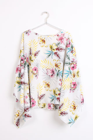 Women Round Neck Floral Print Kaftan Top