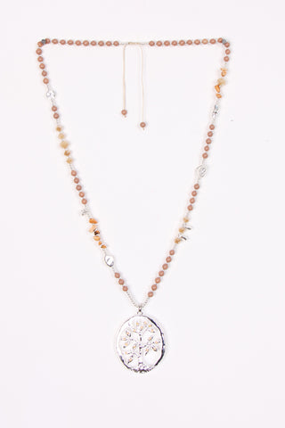 Long Beads Necklace with Tree Of Life Pendant