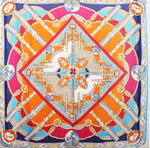 Large Square Silky Compass Vibrant Print Scarf
