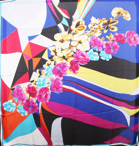 Large Square Silky Geometric and Floral Print Scarf