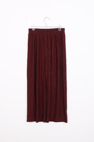 Wide leg maroon sparkly trousers