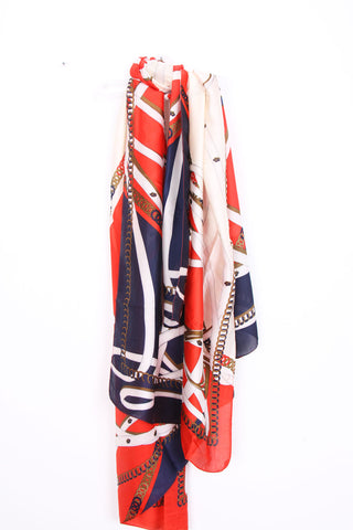 Large Silky Belt And Chain Print Scarf