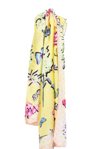 Large Silky Butterfly and Floral Print Scarf