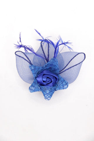 Floral Grossgrain Bow Clip on Fascinator in Royal Blue