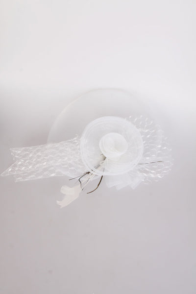 White Flower and Net Clip On Fascinator for wedding