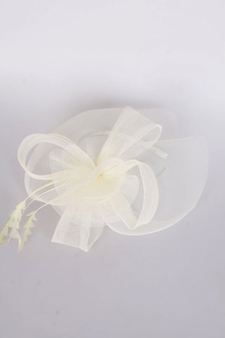 Flower Feather Fascinator in cream for wedding