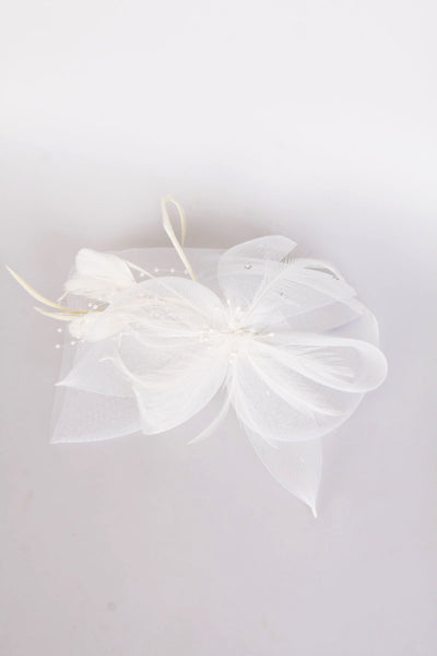 White Flower Feather Net Fascinator with Headband