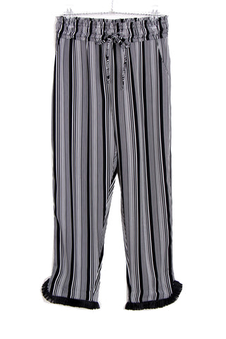 Black and White Striped Pleat Hem high waist Trousers
