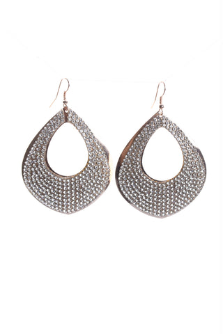 Oval Pear Drop Diamante Earrings