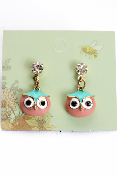 Owl Head Drop Studs Earrings
