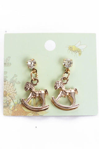 Rocking Horse Drop Studs Earrings