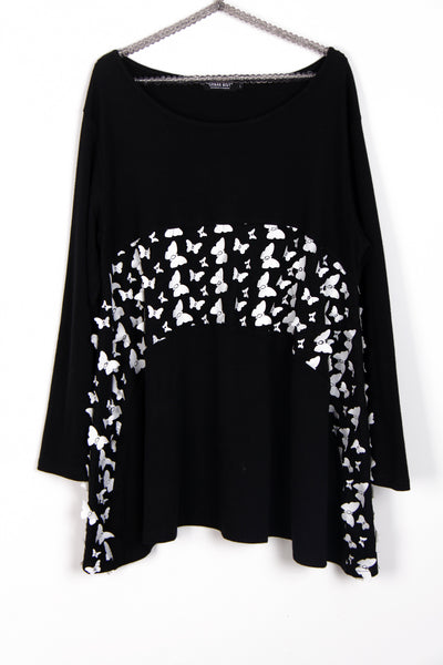 Oversized Floaty Top with 3D Butterfly Detail in Black