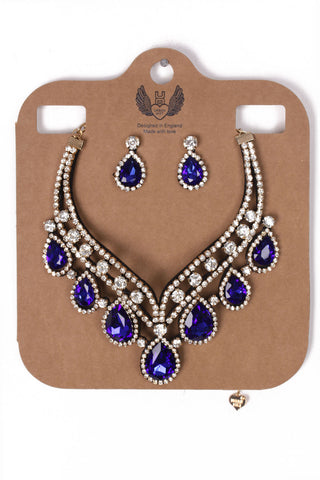 Teardrop Diamante 2-Piece Necklace and Earrings Set in royal blue