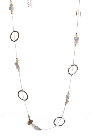 Hoop And Gem Stone Chain Long Necklace in Silver