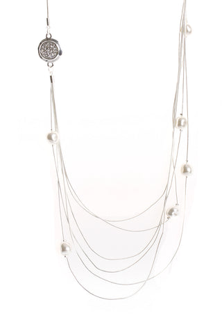 Multiple Layered Pearl Diamante Long Necklace