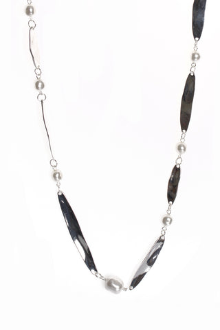 Pearl Link Chain Long Necklace in Silver