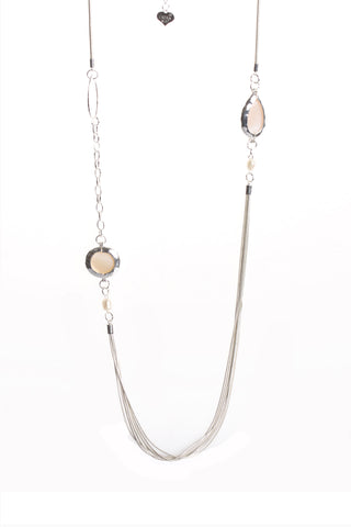 Multiple Layered Gem Stone Charm Chain Long Necklace in Silver