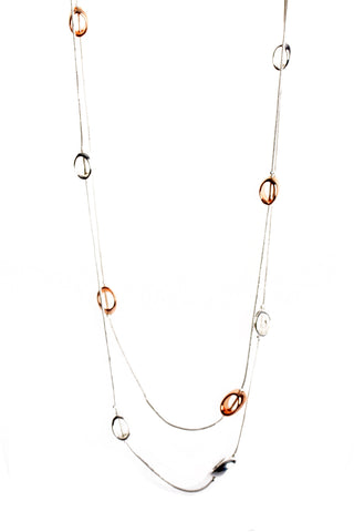 Double Layered Circle Interlink Chain Long Necklace in rose gold/silver
